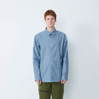 Don't want to go to work - oblique pocket reflective long shirt - light blue