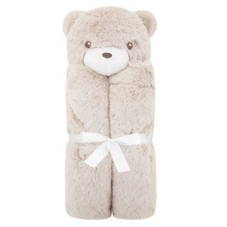 American Quiltex Super Soft Animal Baby Blanket Comforting Blanket - Light Coffee Bear