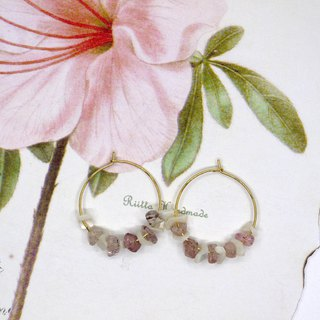 Waltz strawberry crystal natural stone shell circle earrings