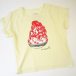 刨冰 Kakigori Shaved ice Women's YURUFUWA t-shirt Strawberry Pink