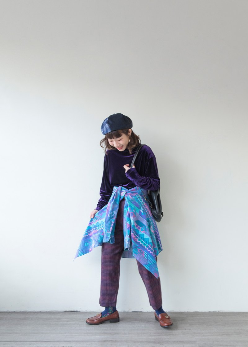 Wool classic purple plaid pants