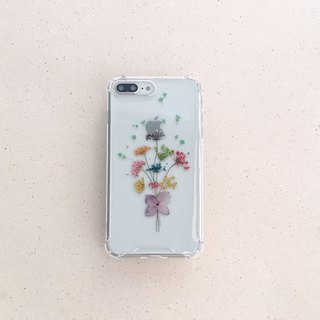 Confessional bouquet:: dry flower embossed mobile phone case iphone 8 plus i8 iphoneX iX
