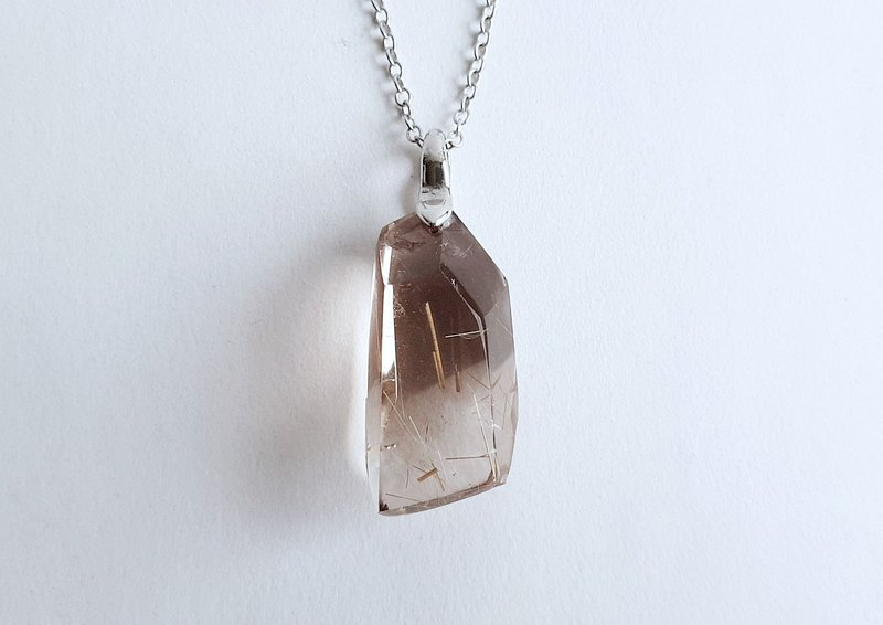 Natural ore light brown color crystal titanium crystal brass . necklace