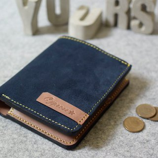 YOURS leather short clip 4 card + coin bag blue suede + log leather