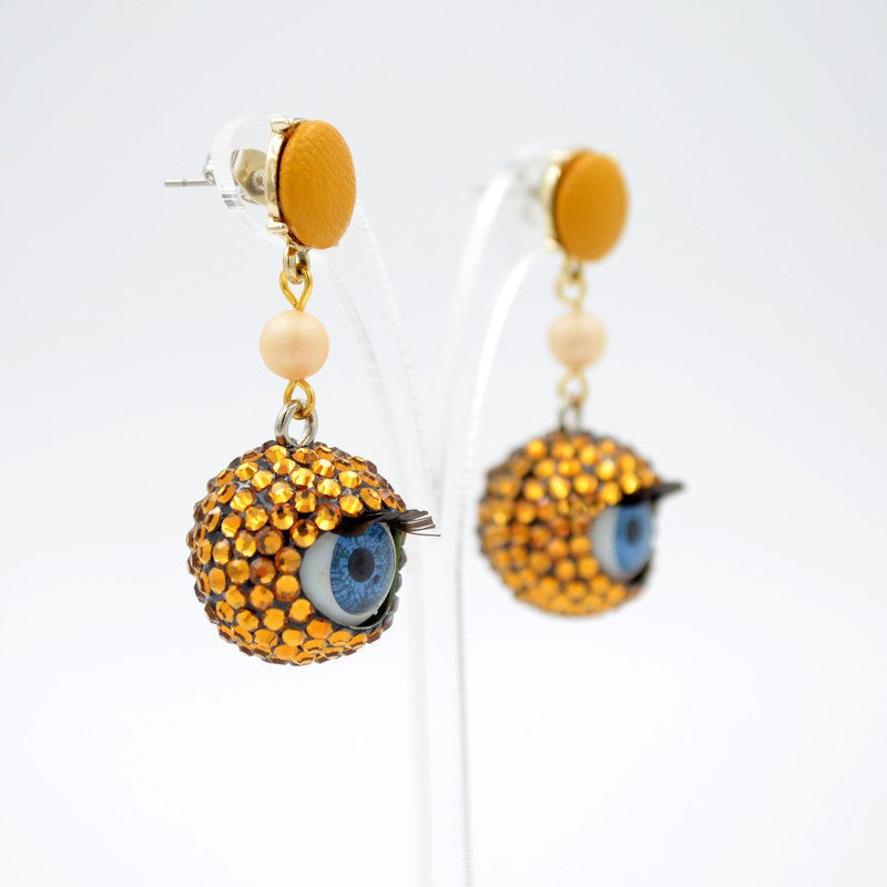 Citrus Orange Crystal Eyeball Earrings Swarovski Swarovski Crystal