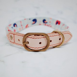 Dog l head width 2.5 cm dog collar (not tag) cute flowers and birds flames leather + canvas
