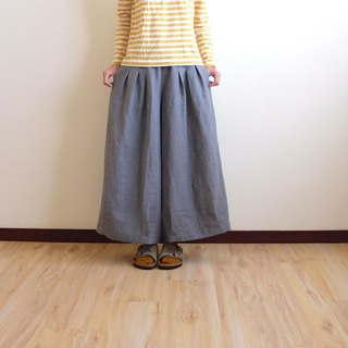 Daily hand made clothes, playful girl, retro dark gray pleated wide pants, linen