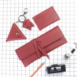 GOODY BAG  Set of Burgundy Leather handmade 3 pieces
