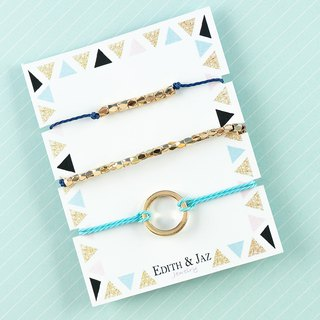 Simple Circle And Metal Bead Bracelet Set - Blue