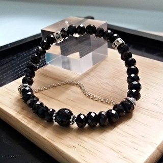 Black style - natural black spinel sterling silver bracelet Hong Kong original design