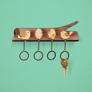 Tree branches - customized wood key ring pylon group (four into the money) - key / storage / wall hanging