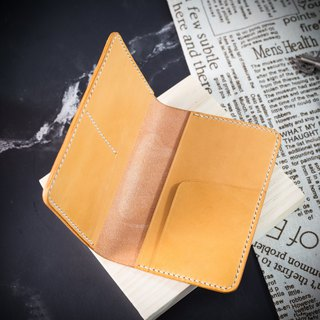 [passport cover / clip / card holder] MISTER hand made leather Italy top vegetable tanned cowhide