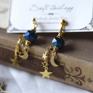 Star & Moon Blue Tiger Eye Natural Stone Earrings / Clips-on Earrings