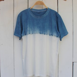 Comfortable hand-dyed blue dye isvara simple series of pure cotton T-shirt
