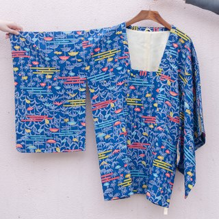 Vintage kimono / are silk serpentine Blue feather weaving
