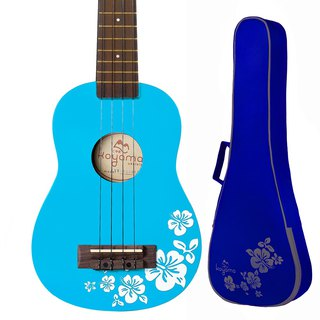 21 inch hibiscus flower color black cliff powder blue Flora Soprano Ukulele / clear blue