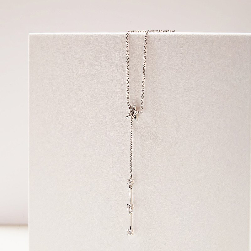 Shooting Star Y Necklace Sterling Silver 925 with CZ & Rhodium Plated.