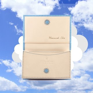 TWO TONE LEATHER CARD HOLDER MAGNETIC CLOSURE (SKY BLUE)