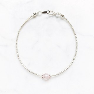 :: Silver ore series:: Light-colored Strawberry Crystal (Light Pink) Mini Silver Silver Bracelet
