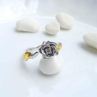 HK196 ~ 925 Silver Rose Style Ring