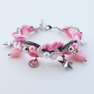 Smiley charms braided bracelet in pink color
