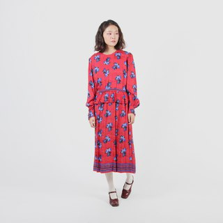 [Egg plant ancient] Ginza light year printing vintage dress