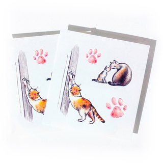 Lovely Couple Temporary Tattoo Stickers Kitten Cat Family Little Pink Paw Summer