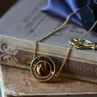 Spinning planet Tiger's eye stone necklace