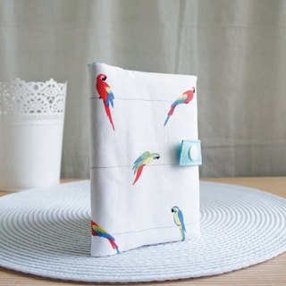 Lovely [Japanese cloth] color parrot zipper passport cover, cloth cover book 10X14cm, white background