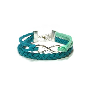 Handmade Double Braided Infinity Bracelets –malachite green limited