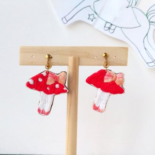 Embroidered earrings mushroom feet female colleagues earrings ear hook clip