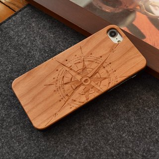Personalized custom laser engraving natural compass iPhone 6 / 6s / 6 plus / 6s plus / 7/7 plus wood + green frosted plastic phone shell