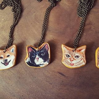 Custom pet cat, dog pure leather necklace (made Valentine, birthday gifts)