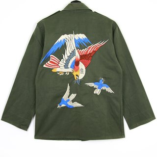 Back to Green :: Military Embroidered Shirt Jacket Embroidery Funny men and women can wear // vintage (J-01)