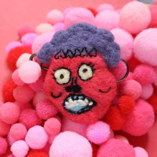 Purple hair zombie ugly-like wool felt brooch