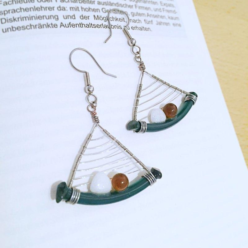 春森 歐洲設計天然石藝術耳環 純手工創作 限量海外直送