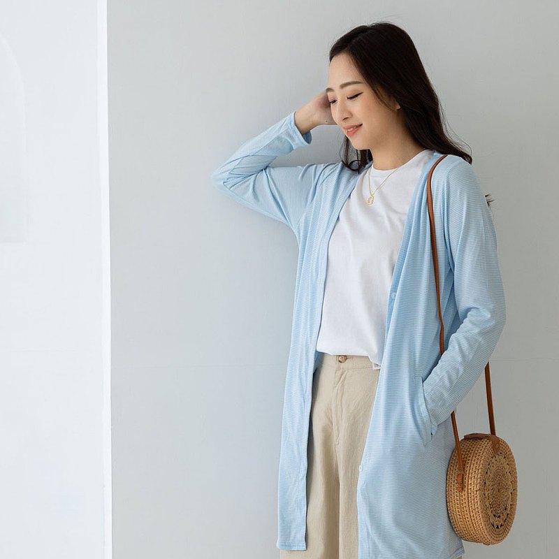 水潤白抗UV保濕長版外套-水晶藍 UV外套 涼感 防曬罩衫