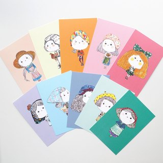 Postcard / there I am with you / like you like me like her / buns full set of postcards 10 sheets