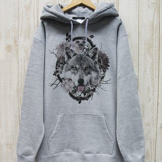 ronronWOLF BIG HOODIE Flower Frame (Heather Gray) / RBP 004 - GR