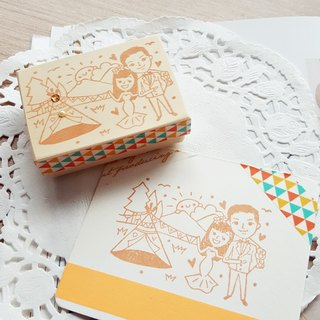 Red Warm Hand Handmade Rubber Slip | Country Child Fun Camping Wedding Chapter 5X7cm
