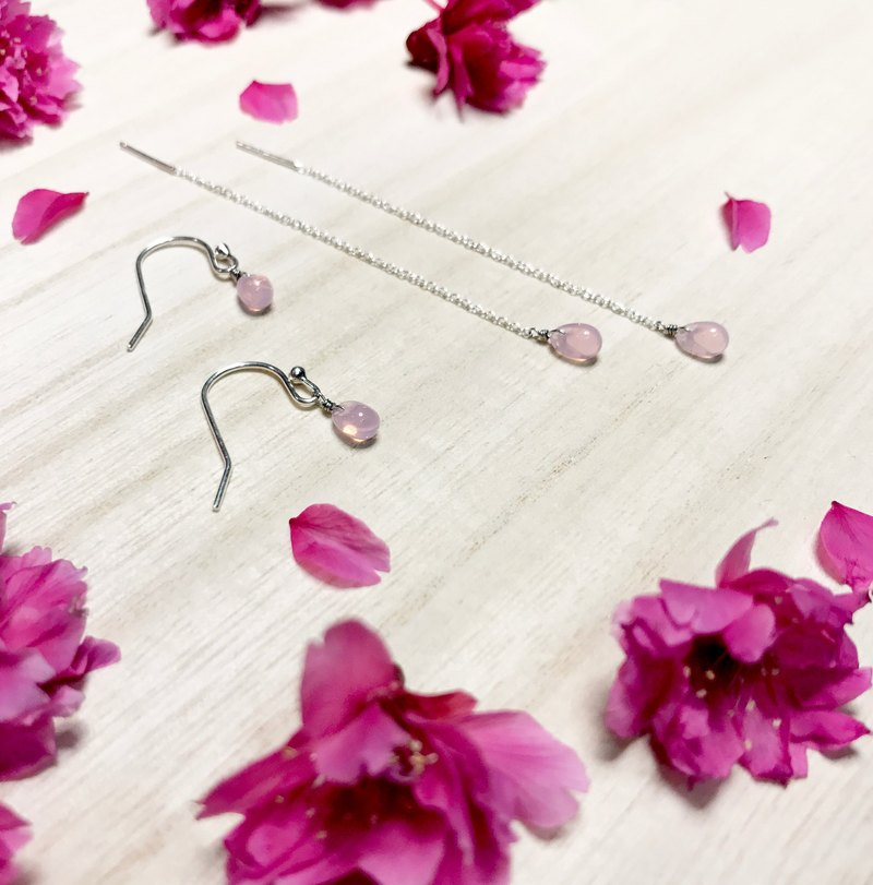 Minimalist series - Limited pink cherry pink - 925 sterling silver hand-made earrings Free clip-on silver gift packaging