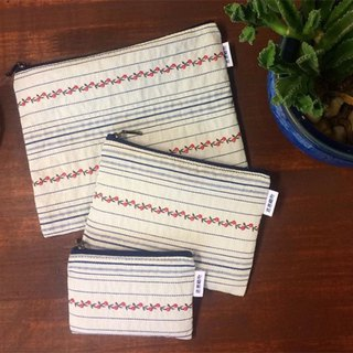 은혜직물 pouch/ flower rattan striped zipper bag