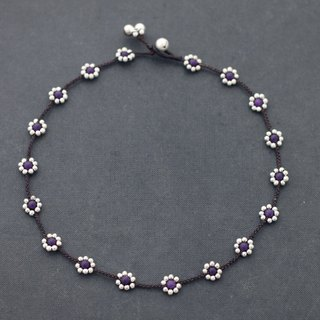 Amethyst Silver Daisy Flower Necklaces Hippy Short Necklaces