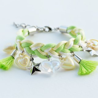 Lime/light yellow/white braided bracelet with charms