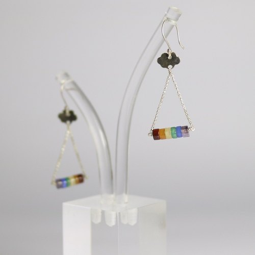 [ColorDay] Rainbow Natural Stone Sterling Silver Earrings (Agate _ Topaz _ Tianhe Stone _ Purple)