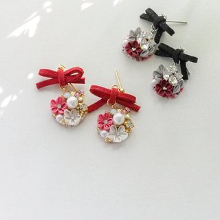 Sweet bow and Pink Silk Flower and Crystal Earrings Clip-on 14KGF,S925 custom