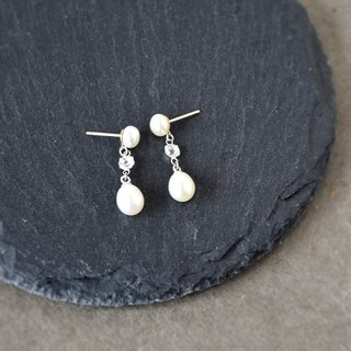 Handmade Beautiful Drop Pearl with white Topaz Earrings