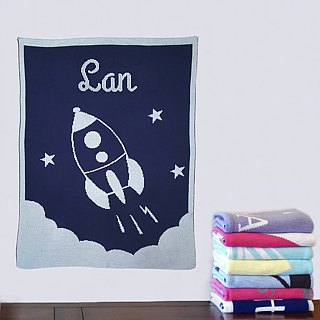 Customized Name blankets ★ Rocket 60x80cm