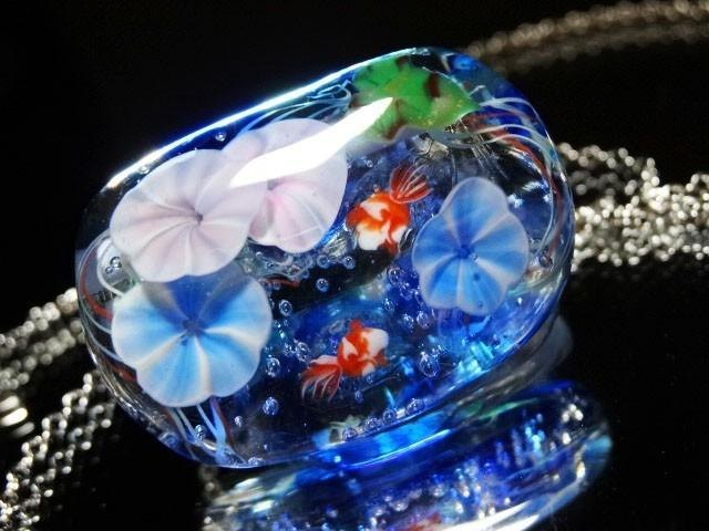 Morning glory and goldfish dragonfly ball glass pendant