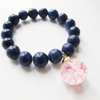 * Rosy Garden * love color pink sequins flow glass snow ball with large pieces of blue color of lapis lazuli bracelet bracelet
